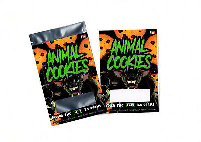 ANIMAL COOKIES / Mylar Heat Seal Bags Cali Tin/Pack Labels X 10