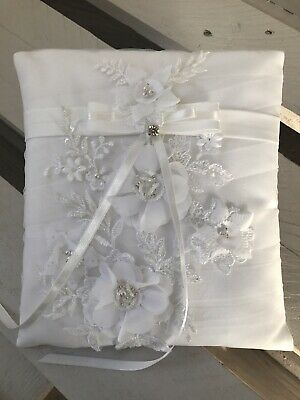White Wedding Ring Cushion Bearer Engagement Pillow Luxury Beaded Floral Lace