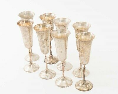 "Set of 8 Silverplate Champagne Toasting Flutes by International Silver 8.5"" Tall"