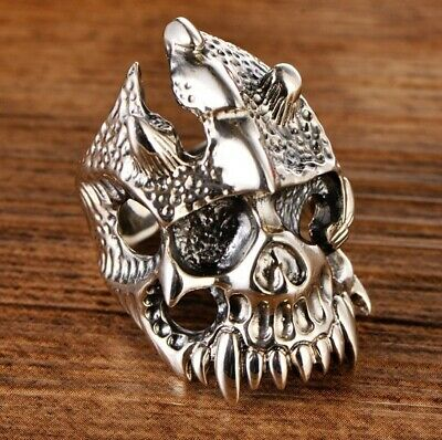 925 STERLING SILVER  MEN'S PUNK  Skull Ring Jewelry S3007