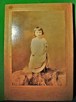 Antique Cabinet Card Photo of Little Girl Holding Onto Her Dress by A H Slade 2