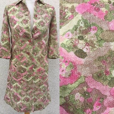 TRUE VINTAGE 50's 60's WOOL PINK SMUDGE ART GRAPHIC PRINT TEA DRESS 10  GOODWOOD