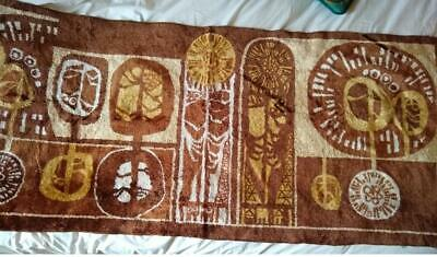"""Long 1960s Modernist Hungarian cotton & silk Wall Hanging Tapestry 70""""  BROWNS"""