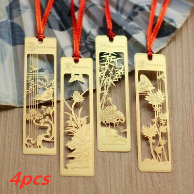 4pcs Chinese Style Plum Orchid Bamboo Chrysanthemum Vintage Metal Bookmark New