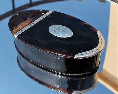 RARE GEORGIAN SOLID SILVER MOUNTED Faux TORTOISE SHELL OVAL SNUFF BOX c1780
