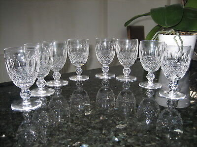 "Waterford Crystal Colleen Claret Wine Glasses 4 3/4"" Signed x 8 Sparkling"