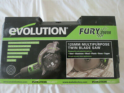 EVOLUTION FURY TWIN CORDED 230V 125mm TWIN BLADE SAW COMPLETE WITH CARRY CASE