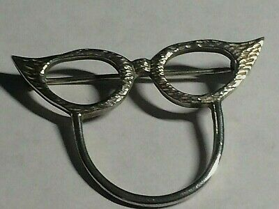 Vintage 925,solid Sterling Silver Retro Spectacles Brooch/pin.london 1988,
