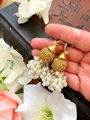 1 Pair Latest Indian White pearl Cluster Gold Cutdana Latkan Blouse Duppata