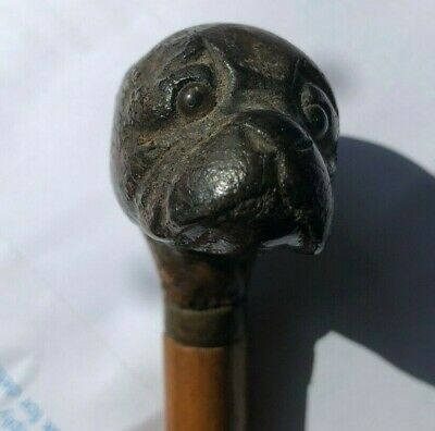 Vintage antique dog head walking stick cane wooden hand carved pug bulldog