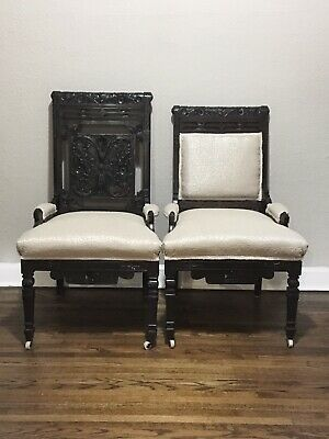 Vintage Pair of Victorian Dark Wood Carved Antique Side Chairs