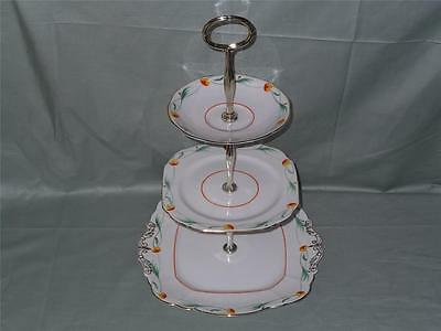 Vintage Paragon China 3-Tier Hostess Cake Plate Stand Patt. F1489 Art Deco
