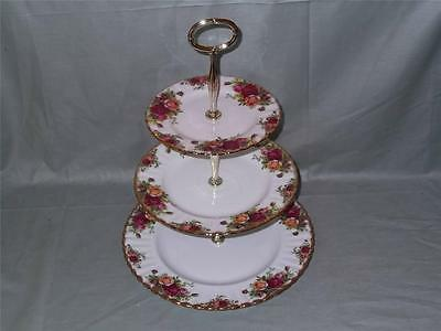 Royal Albert Old Country Roses 3-Tier Hostess Cake Stand (Seconds)