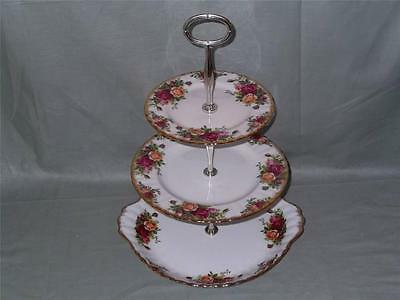 Royal Albert Old Country Roses 3-Tier Hostess Cake Stand with Cake Plate