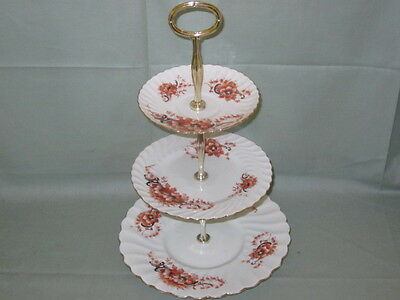 Vintage China 3-Tier Cake Stand Victorian Gilt & Teracotta Floral Pattern