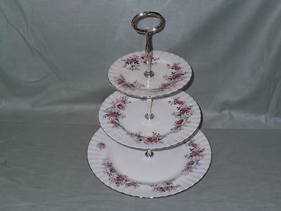 Royal Albert Lavender Rose 3-Tier Hostess Cake Plate Stand (V1 Seconds)