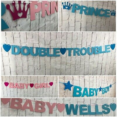 PERSONALISED Baby Shower BANNER boy girl Twins decorations bunting New baby