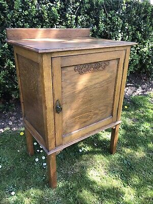 Antique Oak Pot Cupboard-bedside Cabinet-storage-Vintage-hall Table