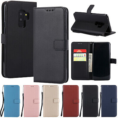For Samsung Galaxy S9 Plus S8+ Case Magnetic Wallet Leather Wristlet Stand Cover