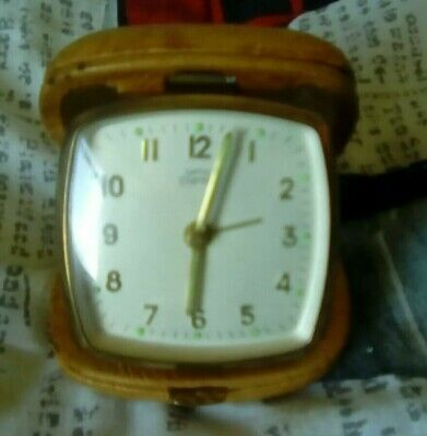 VINTAGE RETRO SMITHS EMPIRE TRAVEL ALARM CLOCK in Brown Leather Case wind up