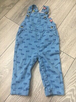 Cath Kidston Blue Baby Dungarees 6-12 Months Vehicles, Trucks.