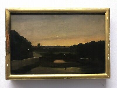 Antique 19th Century oil painting on wooden panel landscape study