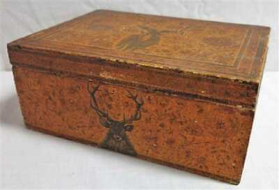 """Wonderful Old Antique Painted Animals Stag Ram Wood Document Box 4"""" X 7"""" X 10"""""""