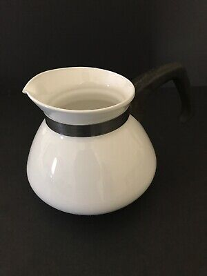 Vintage Corning Ware 6 Cup Coffee Tea Pot Kettle  - All Solid White  ( P 204 B )