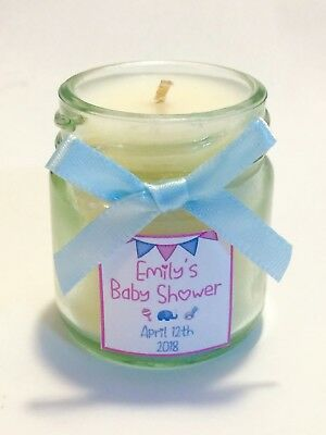 15 x Personalised Baby Shower Mini Scented Candles For Gift Bags, Favours