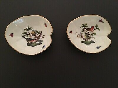 Herend Hungary Rothschild Painted Porcelain Bird Bug Set of 2 Trays 7727/RO  62