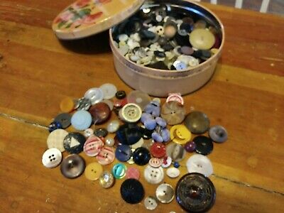 Vintage Button Collection Unsearched Estate Lot in Old Tin Almost 2lbs as is!