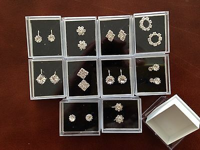JOBLOT- 10 clip on/pierced stud diamante earrings. Gift boxed. Silver plated.