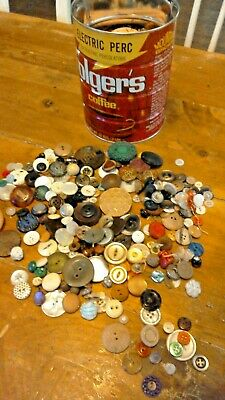 Vintage Button Collection Unsearched Estate Lot in Coffee Tin Sold As Found 3lbs