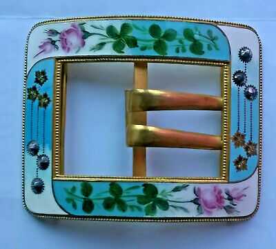 Stunning Large Decorative Enamelled & Cut Steel Buckle Roses On Brass