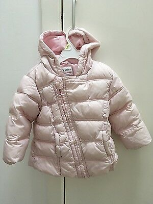 Little girls. Next cosy padded coat with hood age 18mths-2yrs Pale Pink