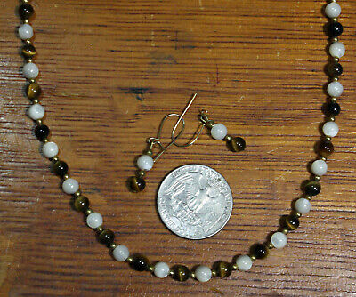 "VTG Mother of Pearl & Tiger Eye Bead Necklace with Matching Earrings 18"", 1970's"