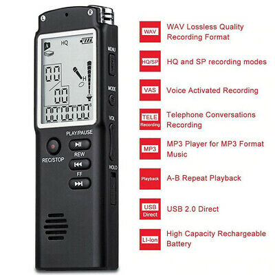 16GB LCD Digital Sound Voice Recorder Rechargeable USB Dictaphone MP3 Player