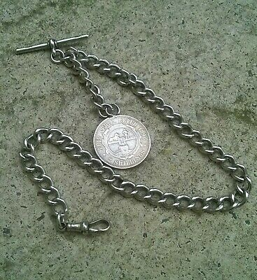 Antique Hallmarked Solid Silver Albert Pocket Watch Chain And Coin