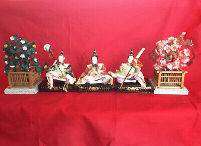 Antique Japanese Hina doll 3 Male Servants with stages, accessories & 2 trees