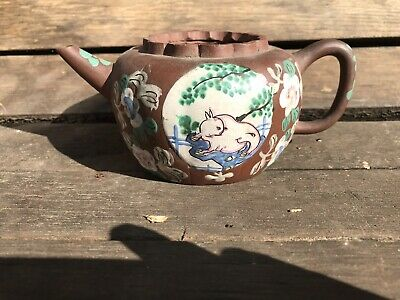 Antique Chinese Enamelled Yixing Terracotta Teapot