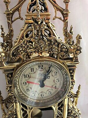 Antique Clock Ornate French Pendulum Brass Clock With Two Candelabra