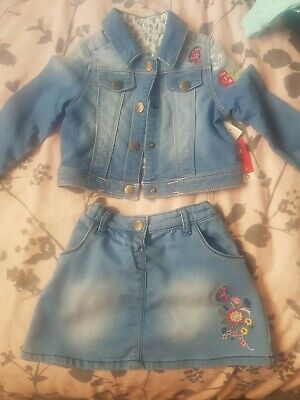 Girls Denim Co Ord Skirt And jacket 18 24 Months