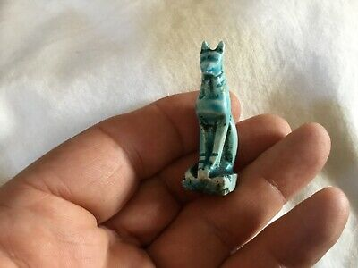 Rare ancient Egyptian stone Blue glaze Faience Cat AMULET c300 /600 BC