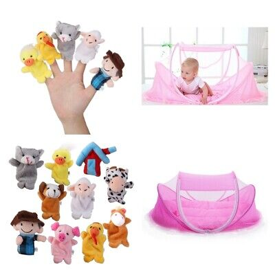 Foldable Baby Bed Crib Play Shades Travel Mosquito Tent Kids Finger Puppets