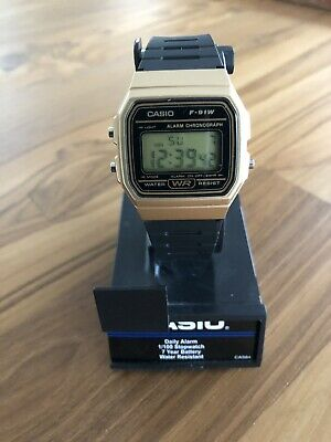 Casio F91WM-9A Men's Retro Black Band Gold Case Alarm Chroograph Digital Watch