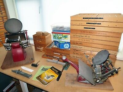 Letterpress Adana 8x5 and 5x3 printing presses with 32 trays of type and extras