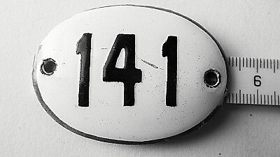 Old Vintage Antique Enamel Porcelain Sign House Number 141