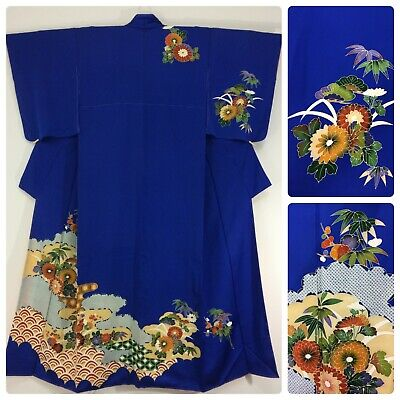 Japanese women's kimono, blue, flowers, long, medium, silk, Japan import(AO2510)