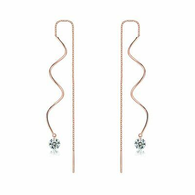 Rose Gold Plated Half Spiral Chain Crystal Pull Through Threader Long Earrings