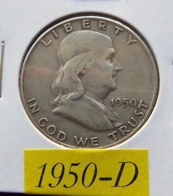 1950 D Circulated Franklin Half Dollar ~ 90% Silver ~ Invest In Silver